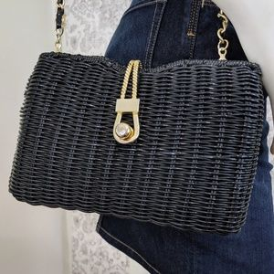 Vintage Gold Chain & Hardware Woven Bag